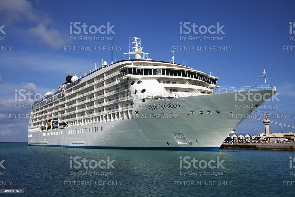 Cruise ship The World, Oranjestad, Aruba stock photo