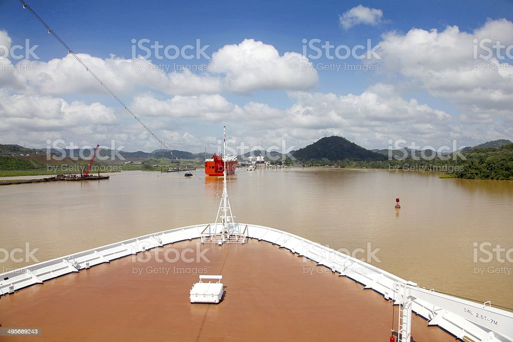 Cruise ship transits Gamboa in the Panama canal. stock photo