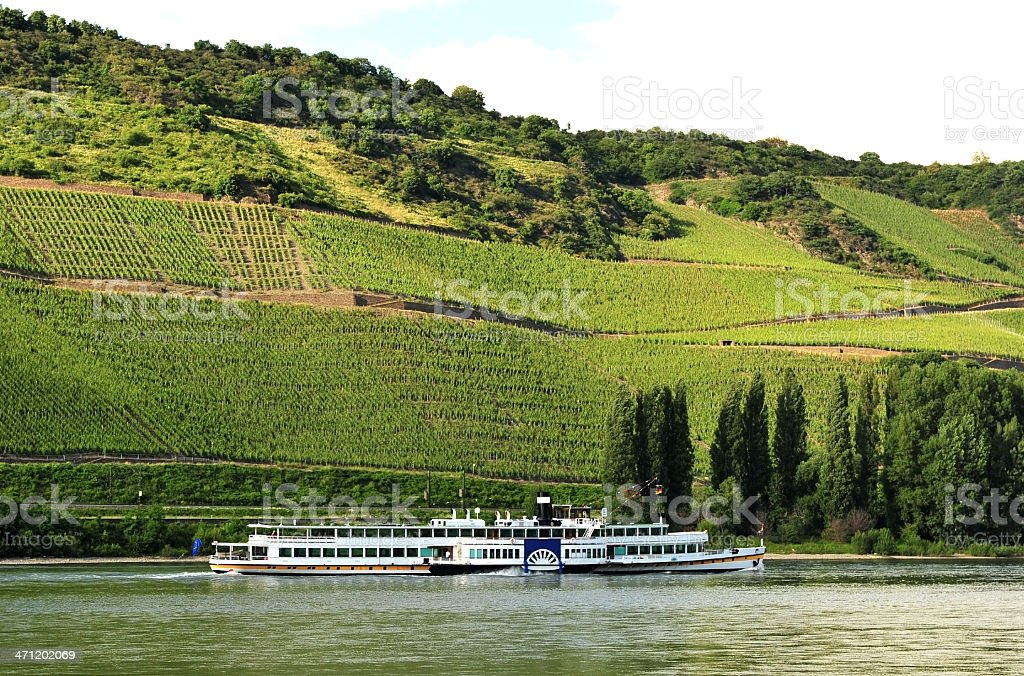 Cruise ship travelling down the River Rhine in Germany stock photo