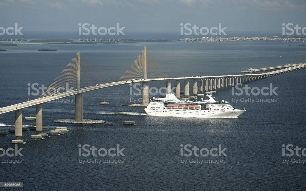 Cruise ship under SkyWay bridge royalty-free stock photo