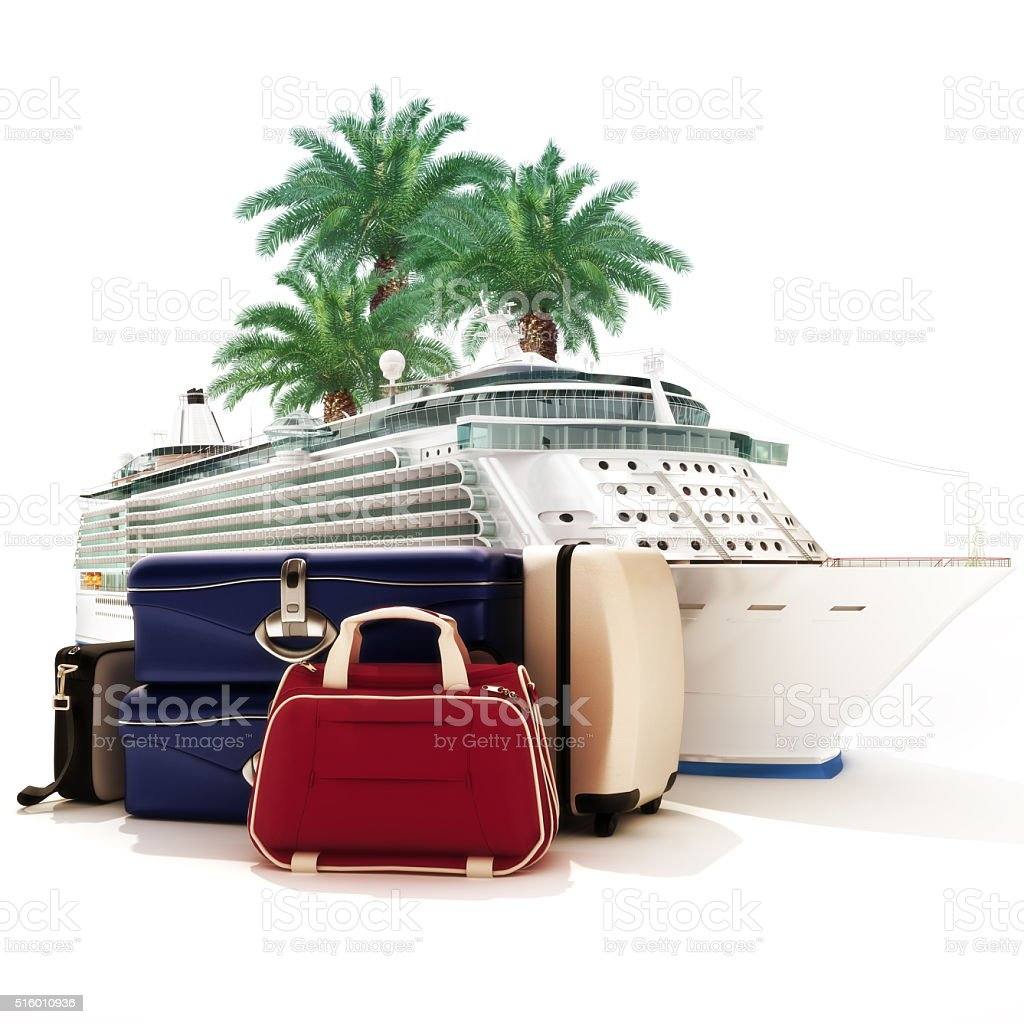 Cruise ship with luggage and palms in the background. stock photo