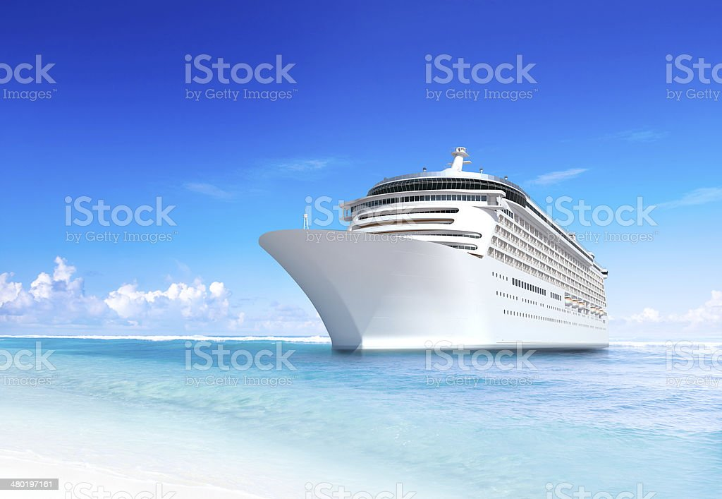Cruise Ship with Wonderful Tropical Beach stock photo