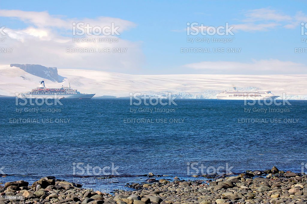 Cruise Ships Anchored At King George Island stock photo