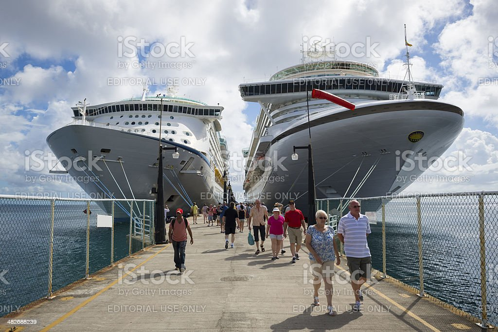 Cruise ships and passengers in port of Basseterre, St. Kitts stock photo