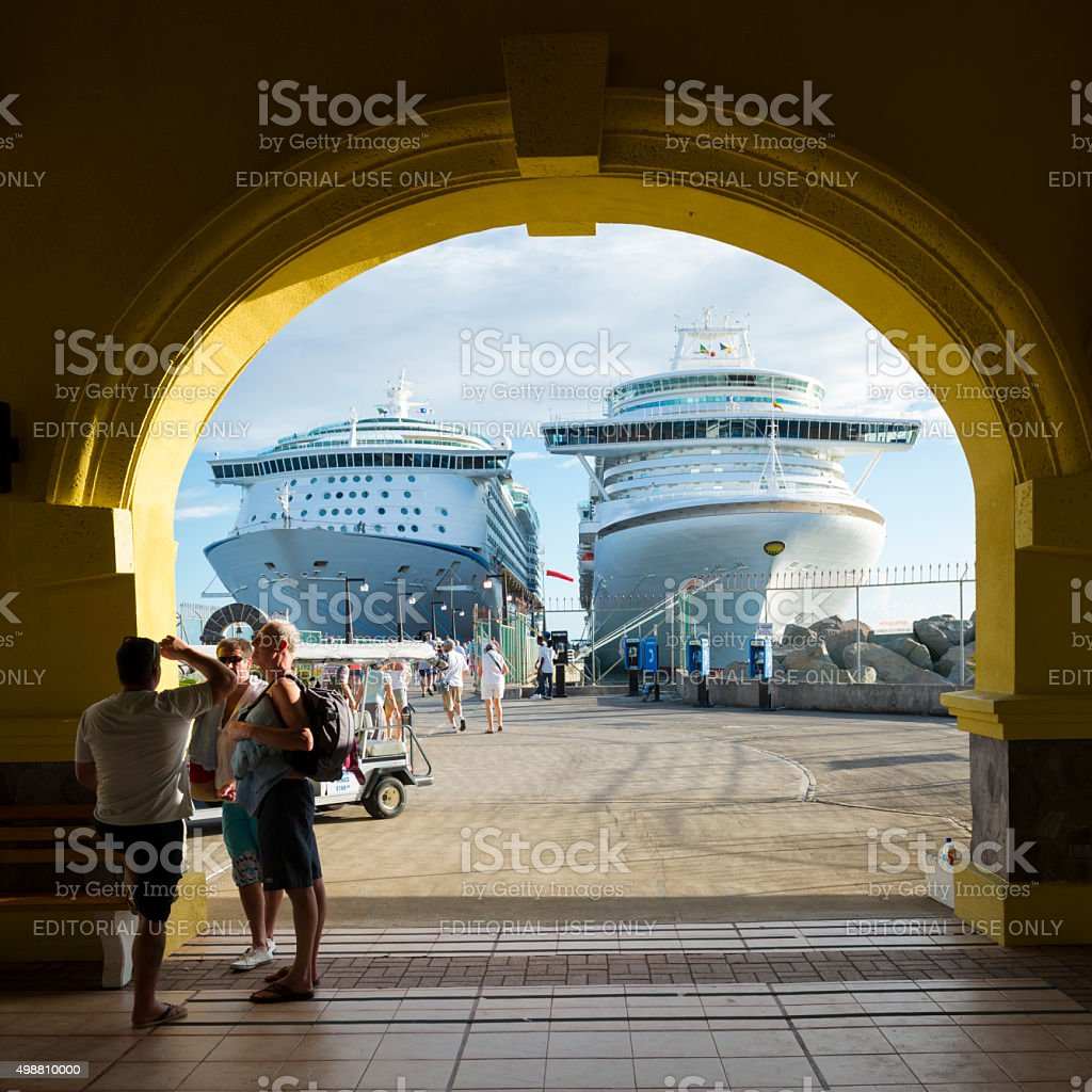 Cruise ships and passengers in St. Kitts stock photo
