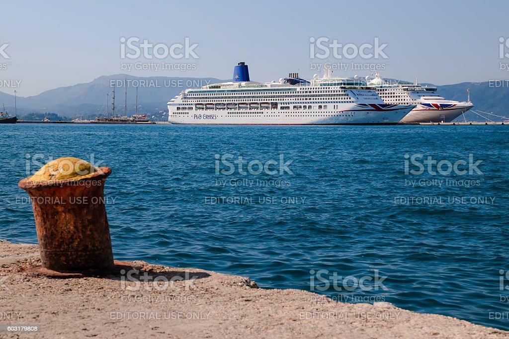 Cruise ships at Corfu Harbour, Corfu, Greece stock photo