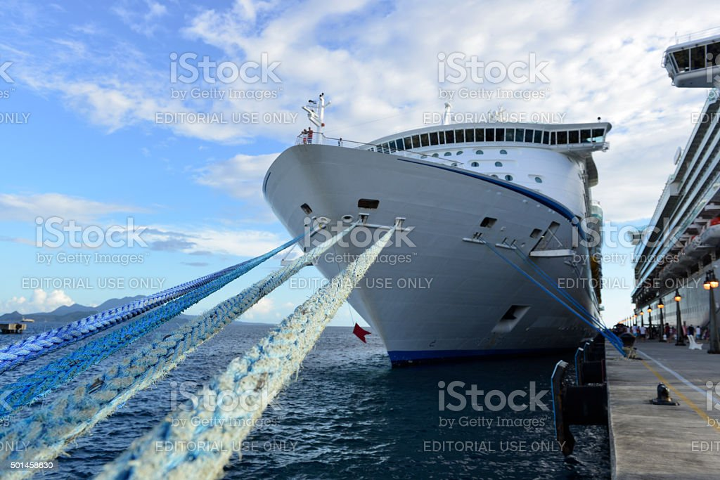 Cruise ships at dock in St. Kitts stock photo