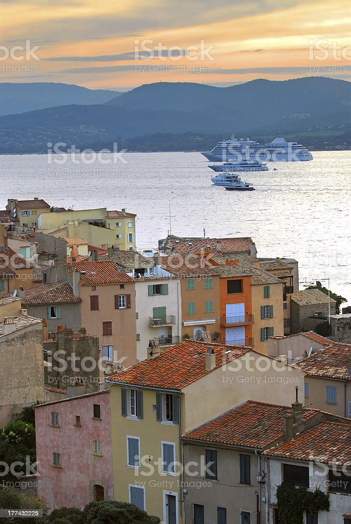 Cruise ships at St.Tropez stock photo