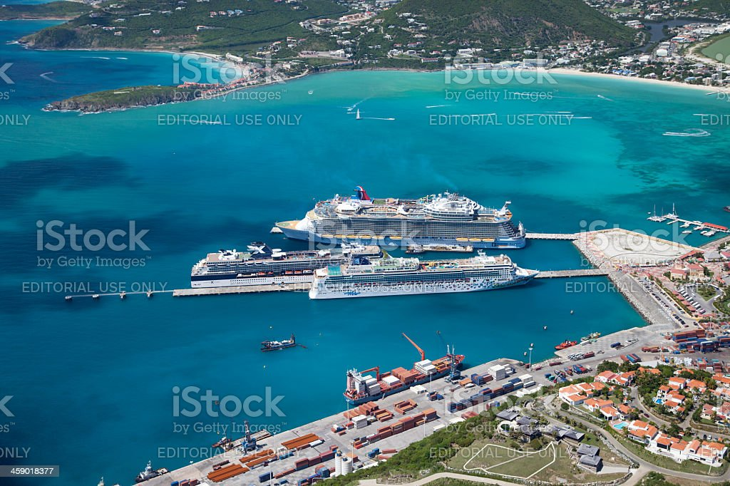 cruise ships at the dock in Philipsburg, St. Maarten stock photo