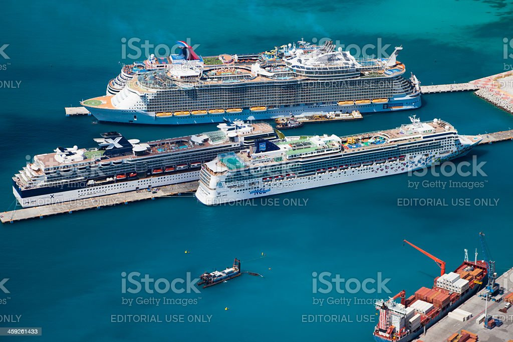cruise ships at the dock in Philipsburg, St. Maarten royalty-free stock photo