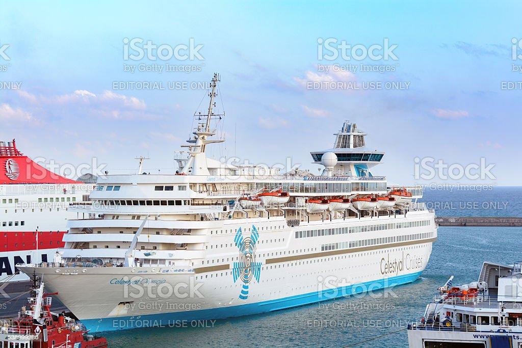 Cruise ships docking at the port of Heraklion, Greece stock photo