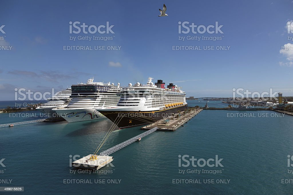 Cruise ships in Nassau royalty-free stock photo