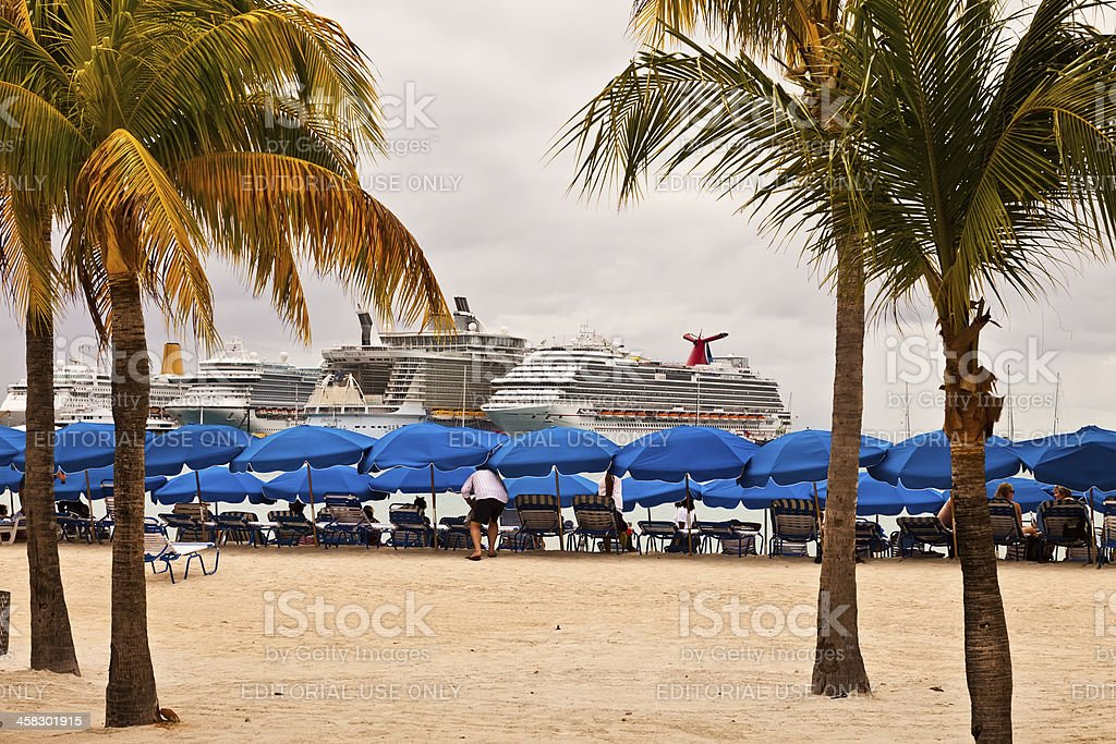 Cruise Ships in Philipsburg, St. Maarten royalty-free stock photo