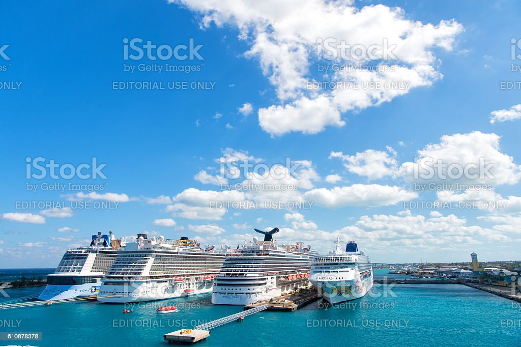 Cruise ships in port of Nassau stock photo