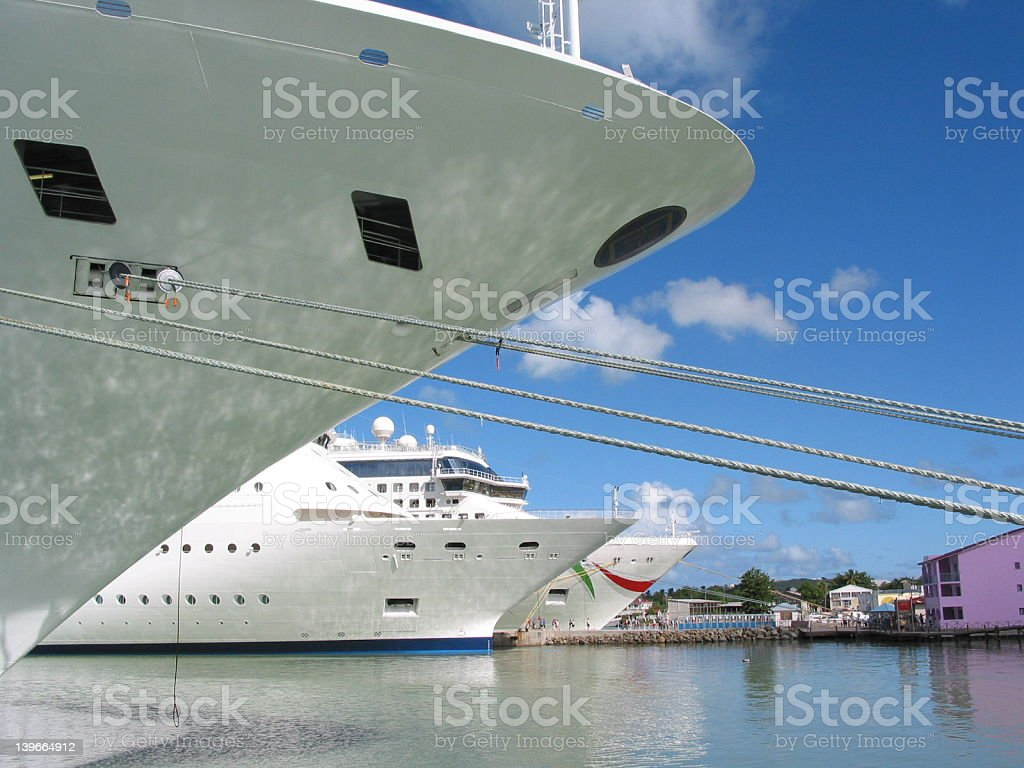 Cruise ships in profile royalty-free stock photo