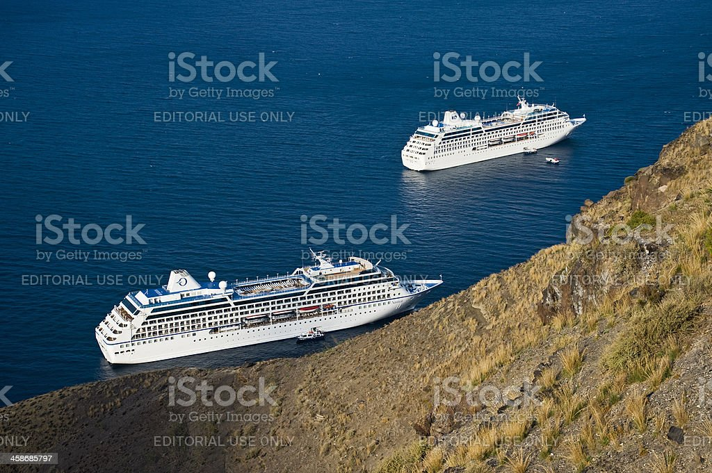 Cruise Ships in Santorini stock photo