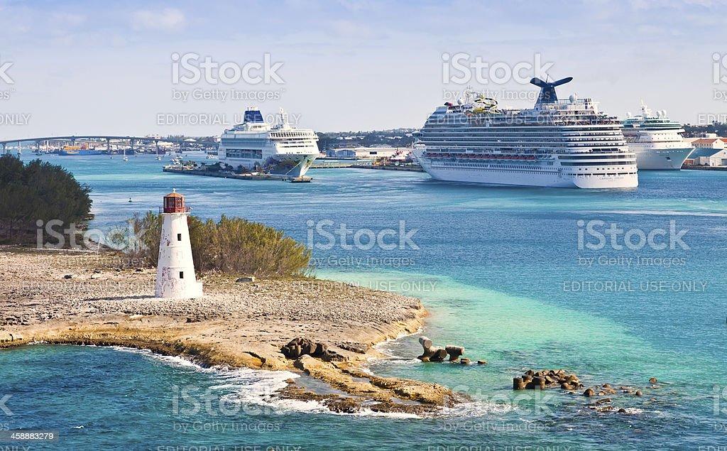 Cruise Ships in the Bahamas stock photo