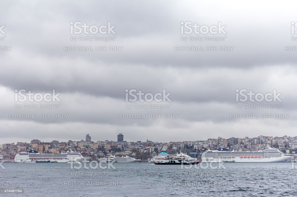 Cruise Ships in the Istanbul stock photo