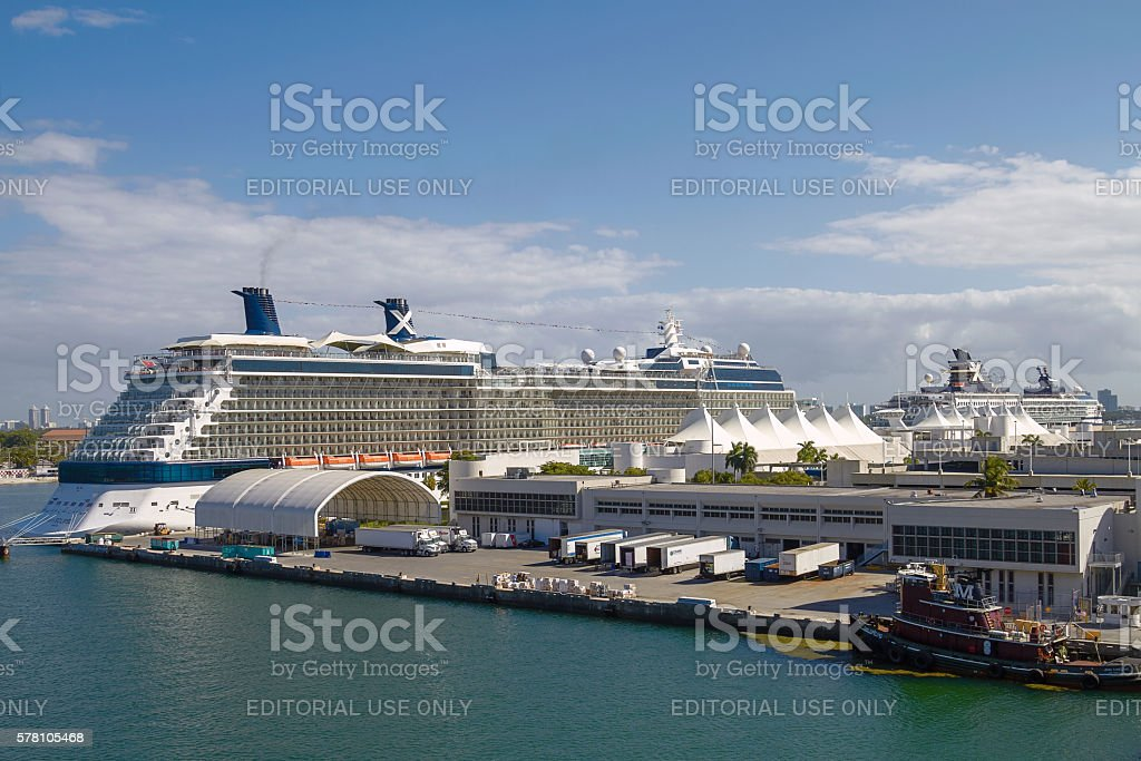 Cruise Ships in The Port of Miami, Florida, United States stock photo