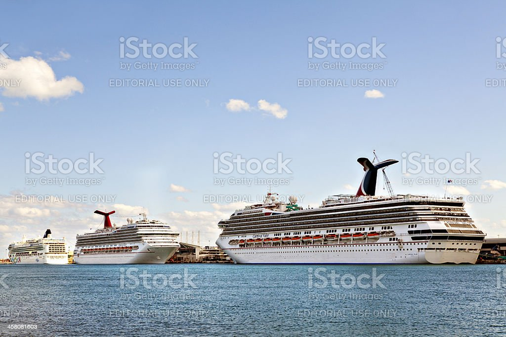 Cruise ships in the Port of Miami stock photo