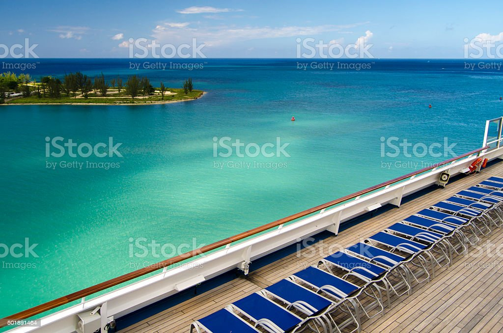 Cruise ships sun beds stock photo