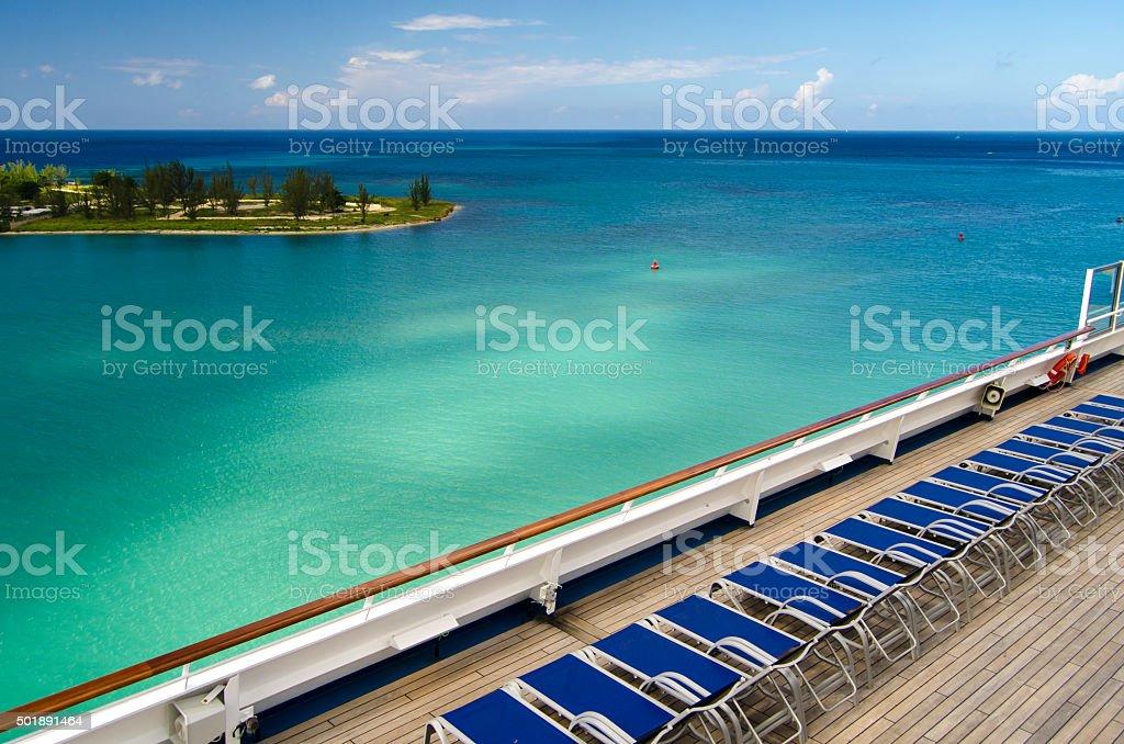 Cruise ships sun beds stock photo