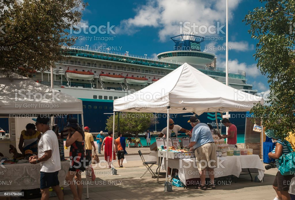 Cruise tourists at the market stock photo
