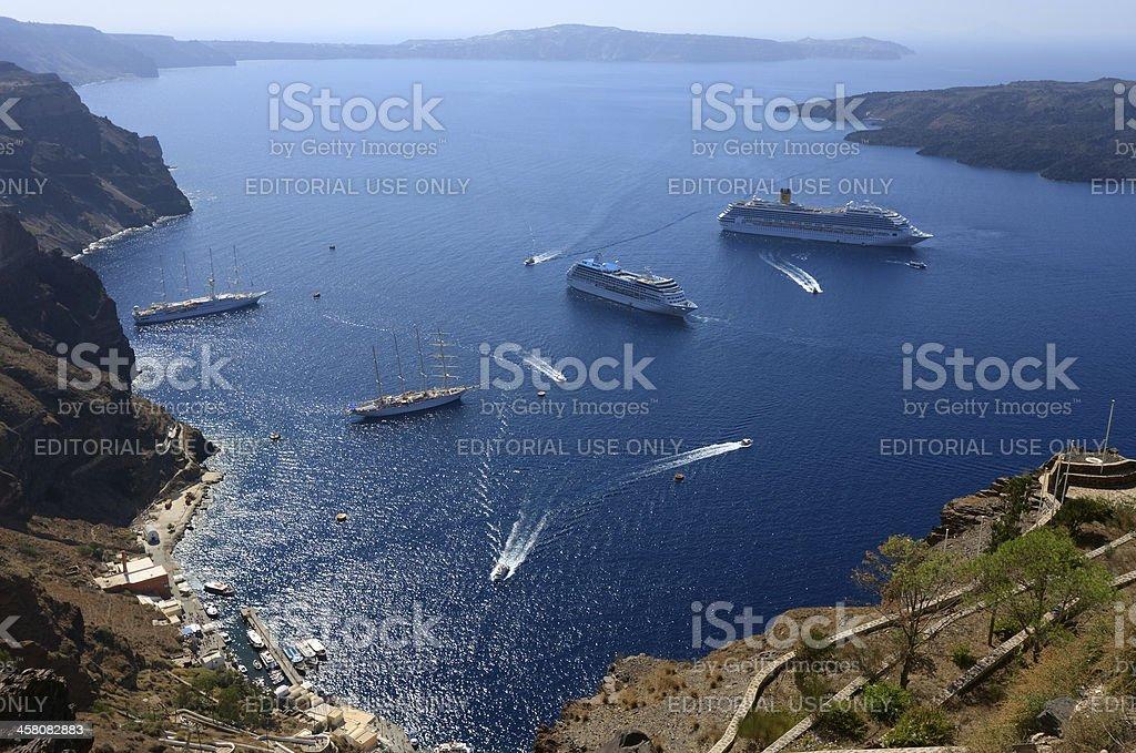 Cruise traffic, Santorini royalty-free stock photo