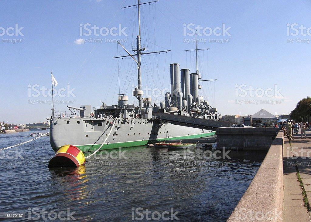 cruiser monument in St. Petersburg stock photo