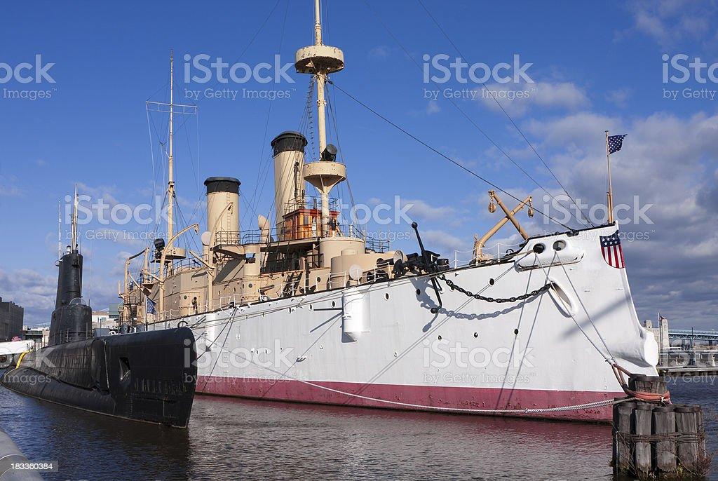 Cruiser Olympia and Submarine Becuna stock photo