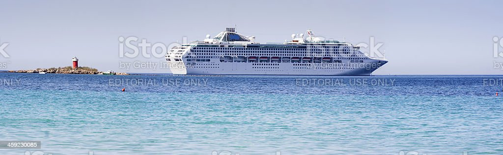 Cruiser Ship crosses off Sardinia coast royalty-free stock photo