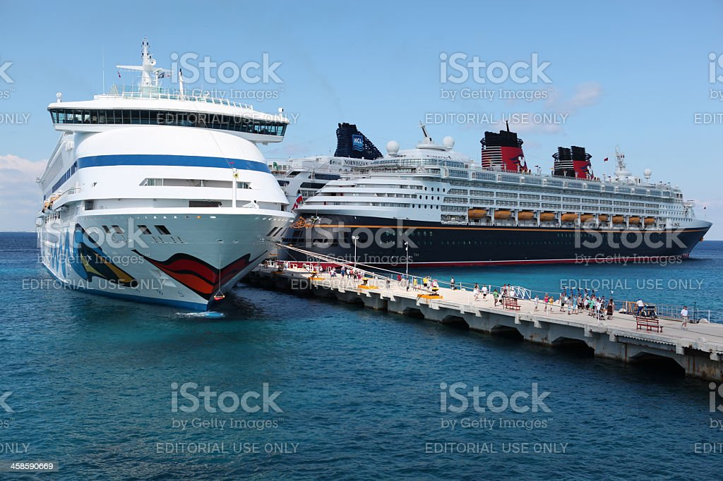 Cruises ships anchored at Cozumel stock photo