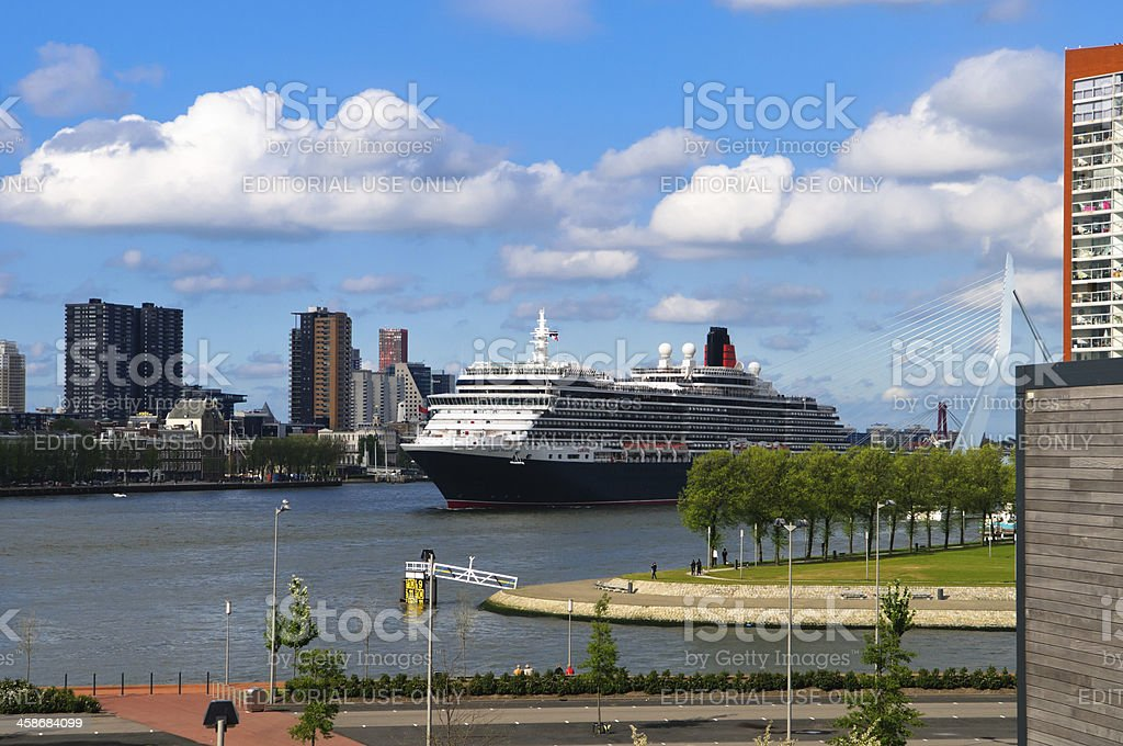 Cruiseship 'MS Queen Victoria' leaving Port of Rotterdam stock photo