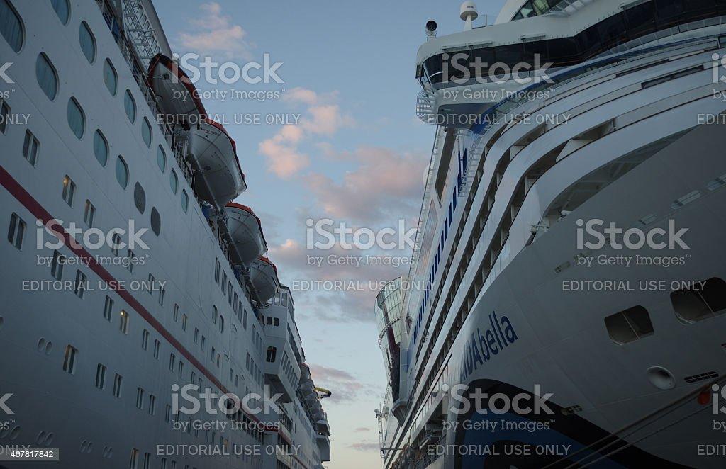 Cruiseships AIDAbella and Carnival Ecstasy at Cozumel, Mexico stock photo