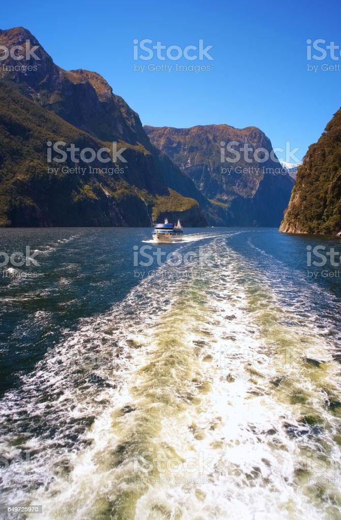 Cruising Down Milford Sound stock photo