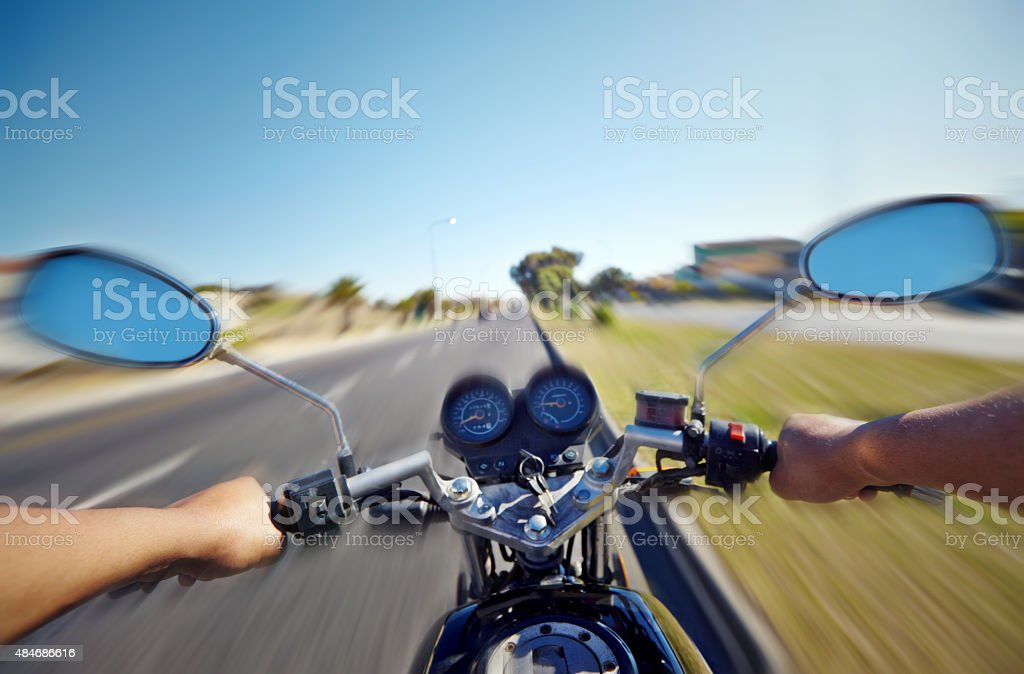 Cruising down the highway stock photo