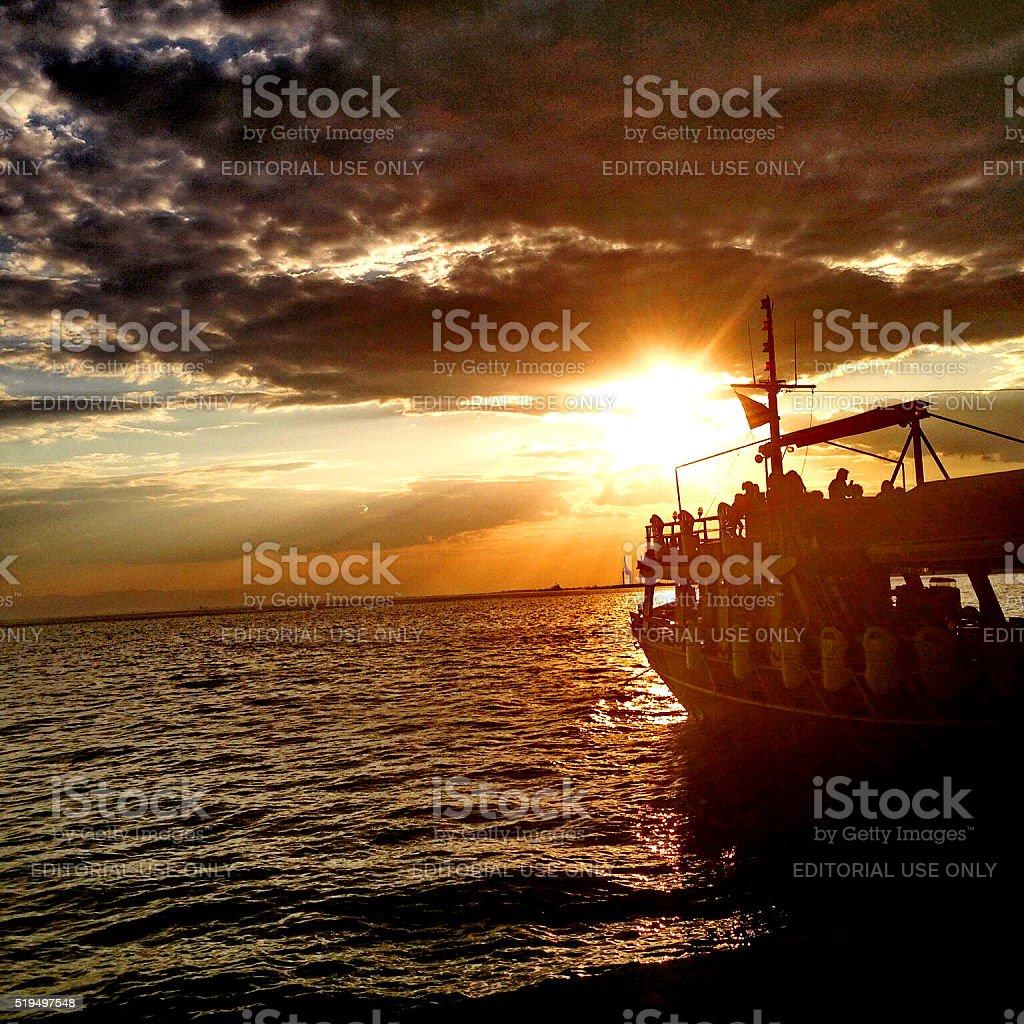 cruising in the sunset stock photo