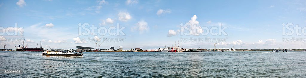 Cruising on the Nieuwe Waterweg near Amsterdam in Holland stock photo