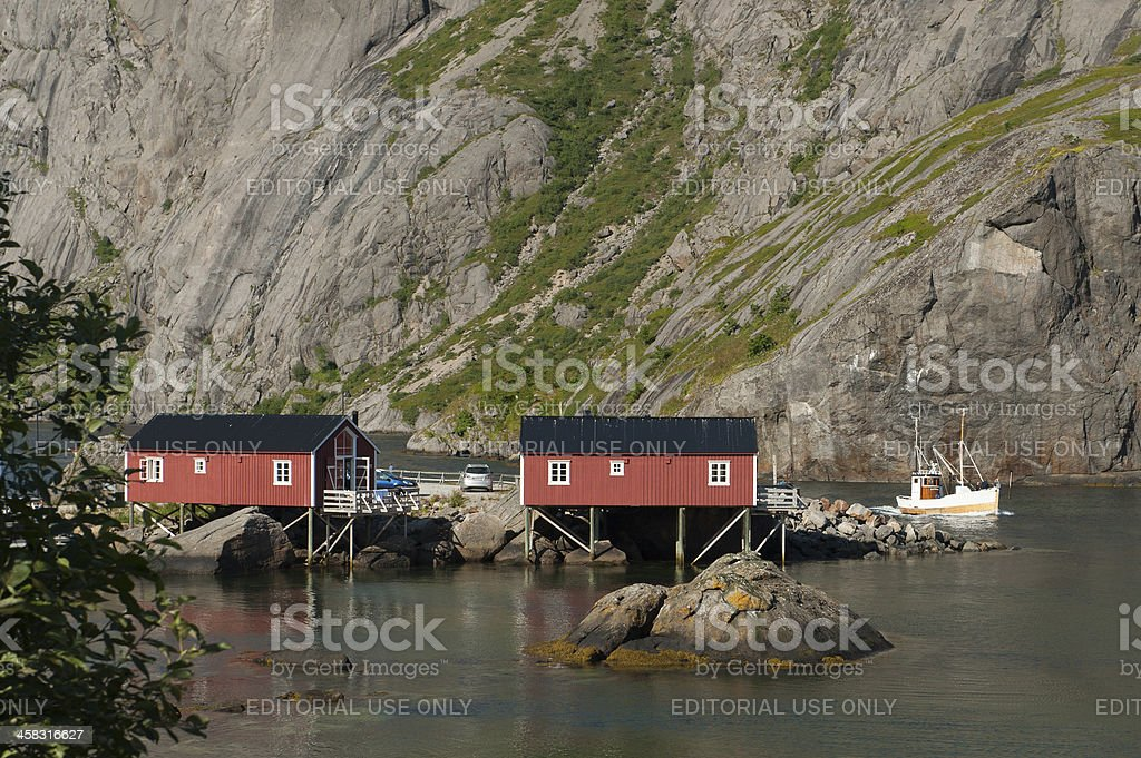 Cruising out from Nusfjord royalty-free stock photo