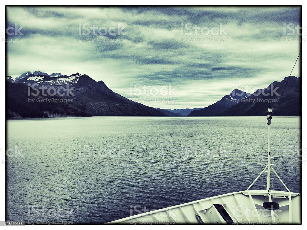 Cruising the Chilean fjords stock photo