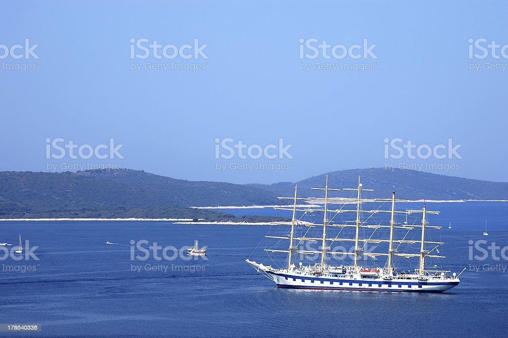 Cruising with sailing boat on the Adriatic sea royalty-free stock photo
