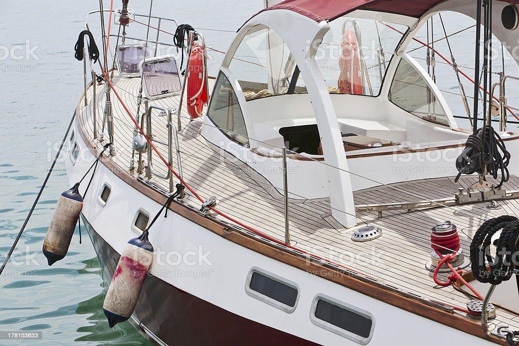 cruising yacht at the marina royalty-free stock photo