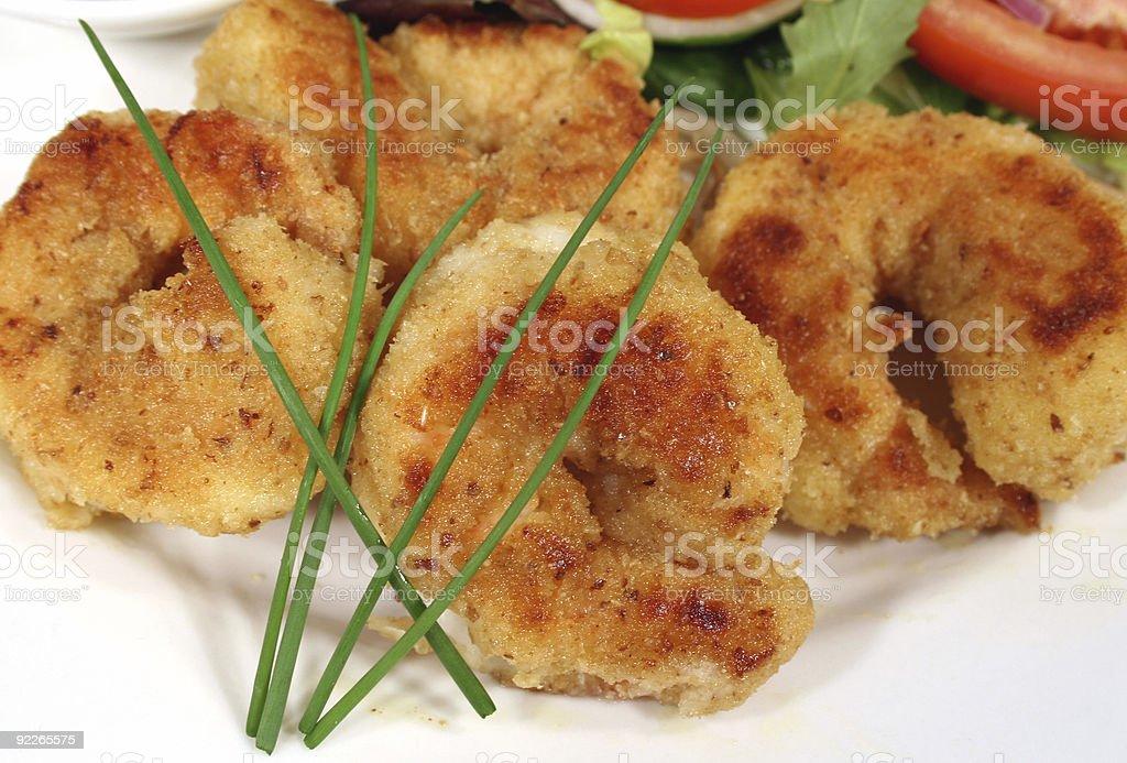 Crumbed Shrimps royalty-free stock photo