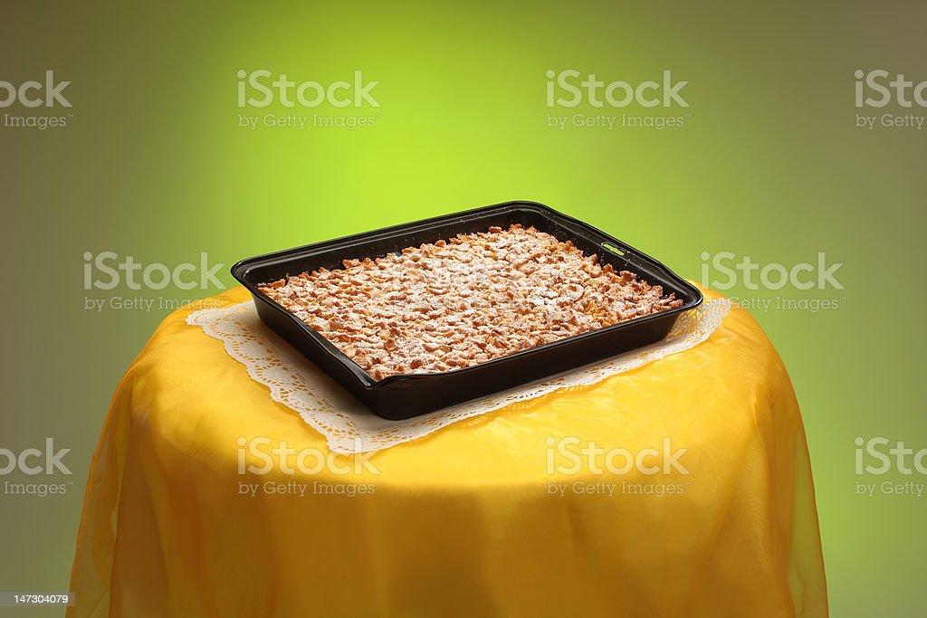 crumble sheet cake, Apfelstreußelkuchen, on table stock photo