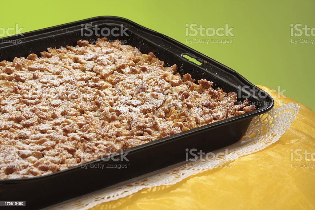 crumble sheet cake, Apfelstreußelkuchen stock photo