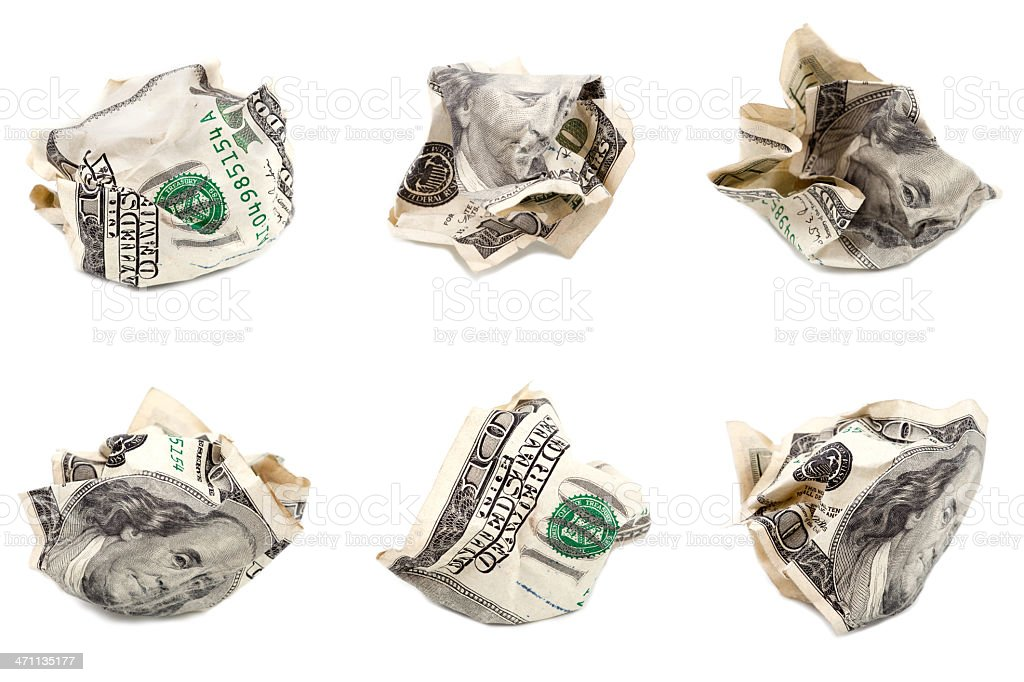 crumbled $100 bill (front side) royalty-free stock photo