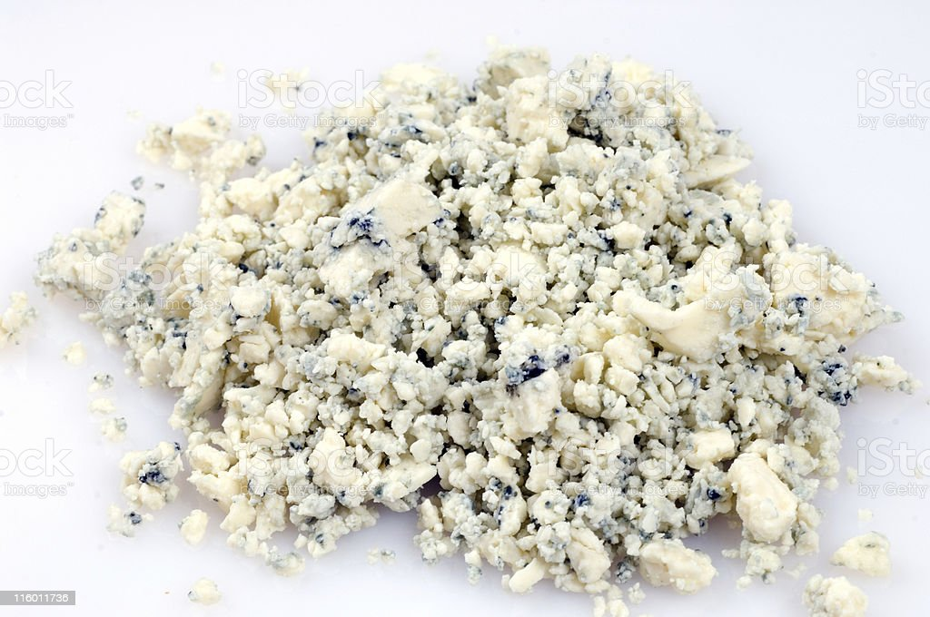 crumbled blue cheese stock photo