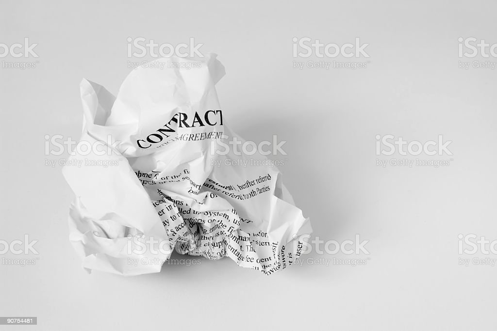 crumbled contract stock photo