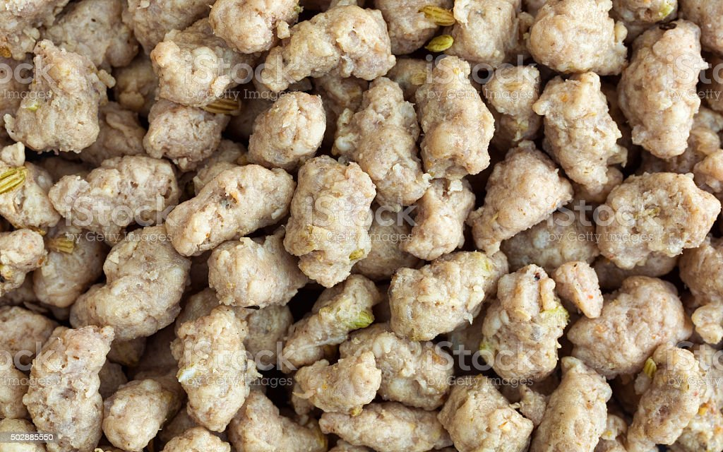 Crumbled Italian sausage close view stock photo