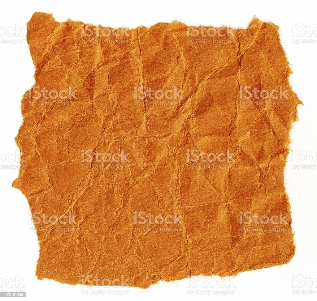 Crumbled Old Textured Orange Paper Background royalty-free stock photo
